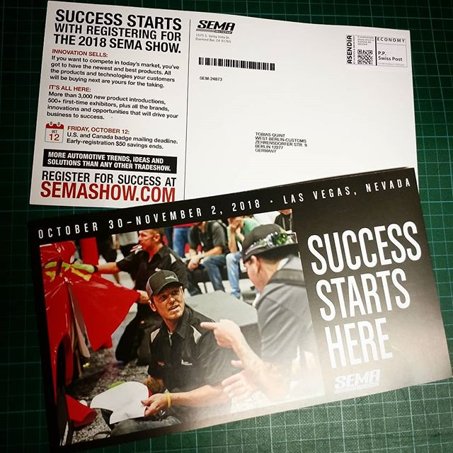 I found something exciting in my mailbox. I guess this will be the 6th or 7th visit at SEMA and I can't wait to get on the plane or (to be honest) off the plane. ???? @semashow